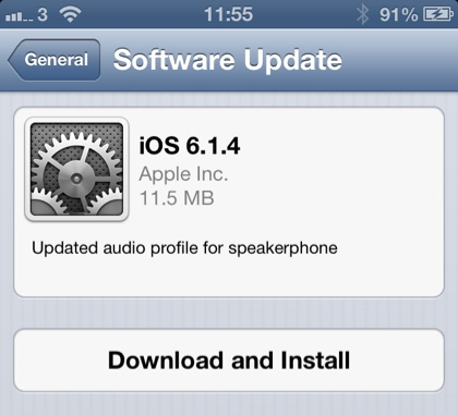 iOS 6.1.4 Update For iPhone 5